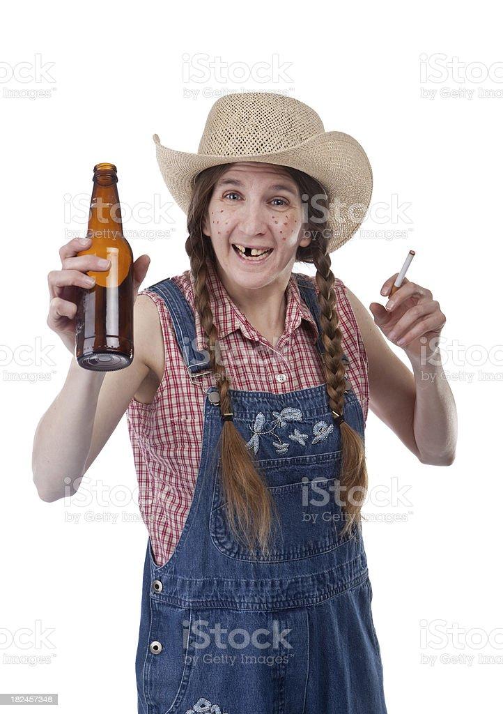 Happy Hillbilly Woman stock photo
