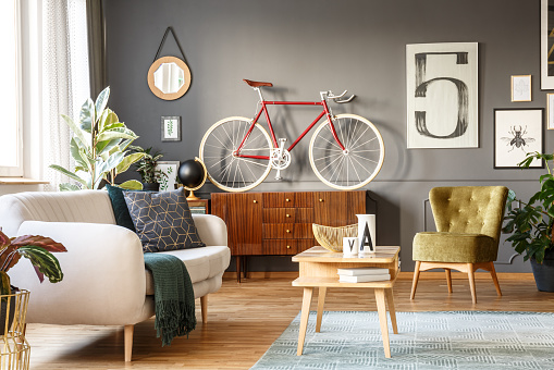 Happy hipster cozy iving room
