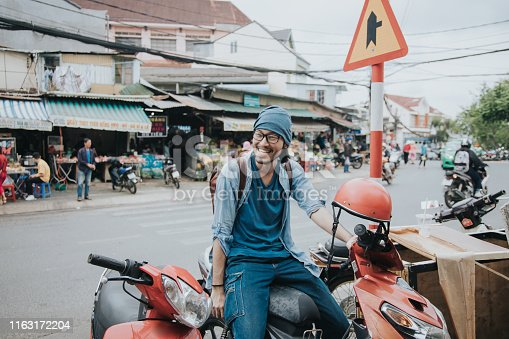 Facial Expression, Smiling, Vietnam, Cycling, Motorcycle, hipster, men, one person