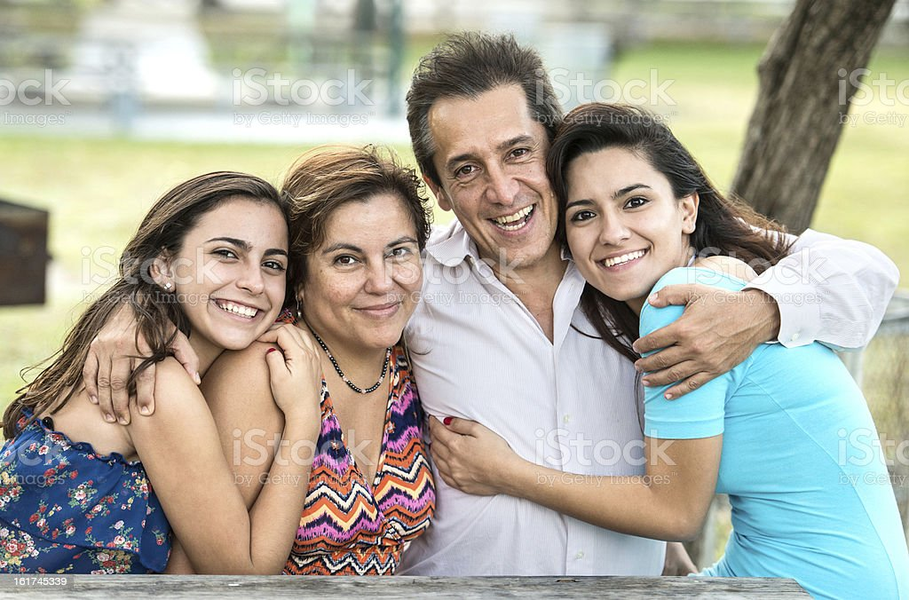 Happy hispanic family royalty-free stock photo