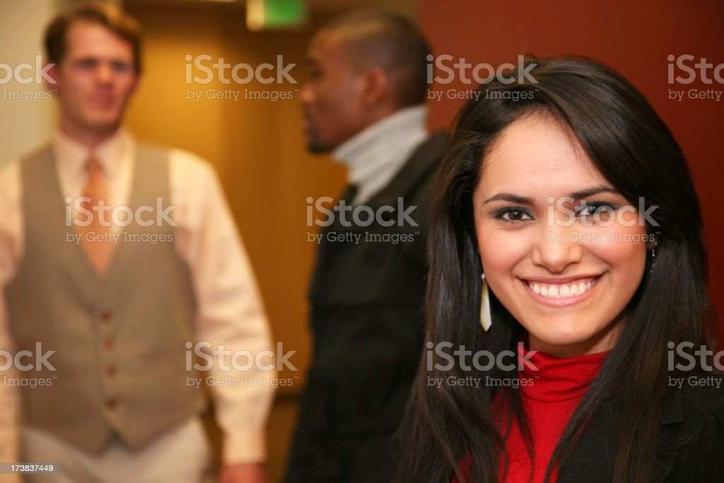 Happy Hispanic Woman at the Office royalty-free stock photo