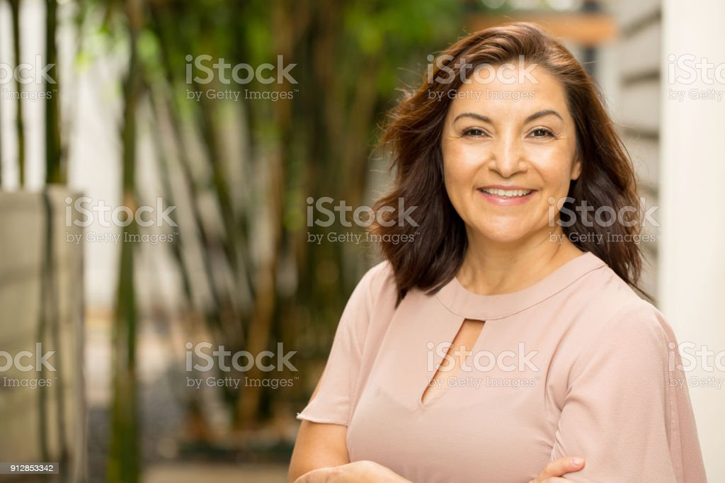Happy Hispnaic woman smiling. royalty-free stock photo