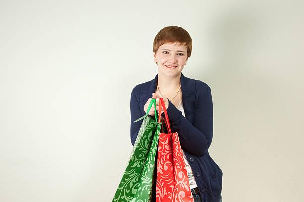 Happy Holiday Shopper stock photo