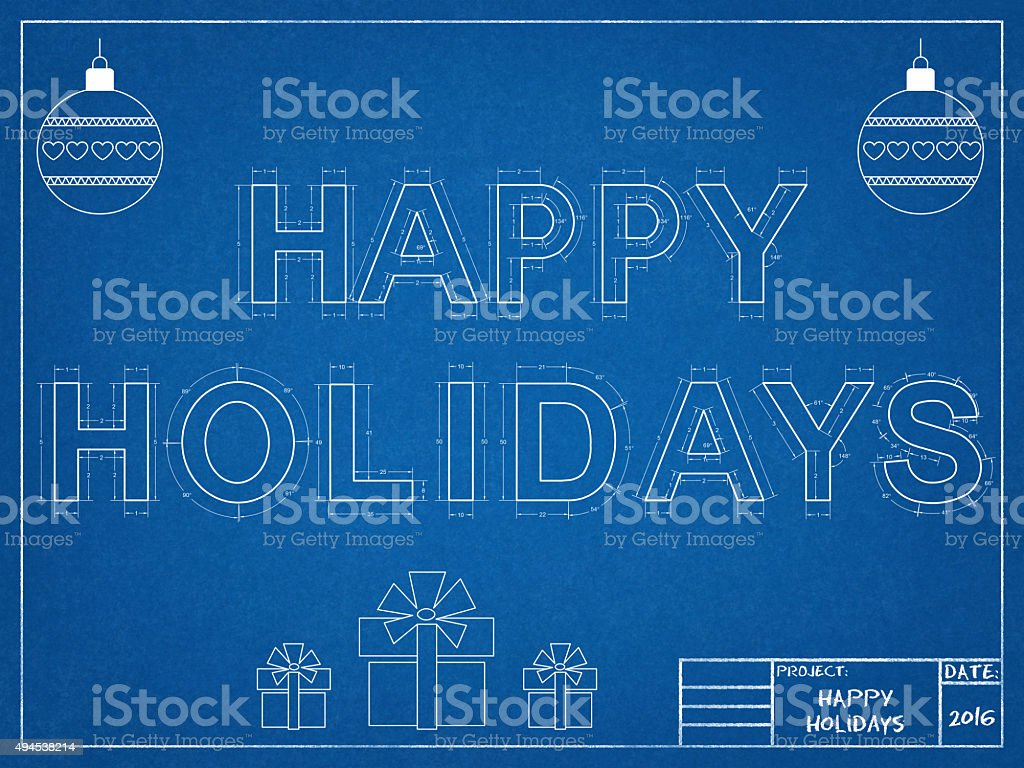 Happy holidays 2016 blueprint stock photo more pictures of 2015 blueprint document newspaper plan santa claus malvernweather Images