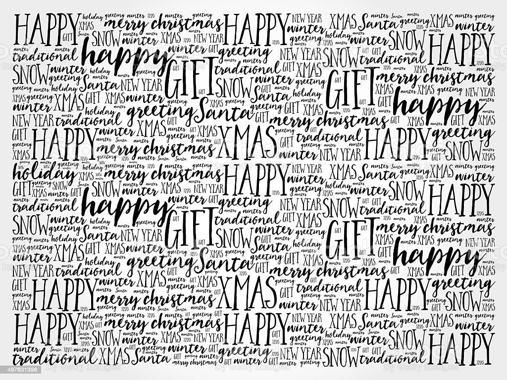 Happy Holidays and Christmas background word cloud stock photo
