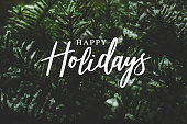 istock Happy Holidays Calligraphy Over Pine Branches Covered in Snow 882575386