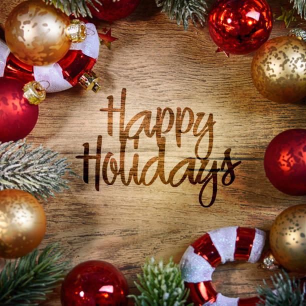 happy holidays, christmas and new year background - happy holidays stock pictures, royalty-free photos & images