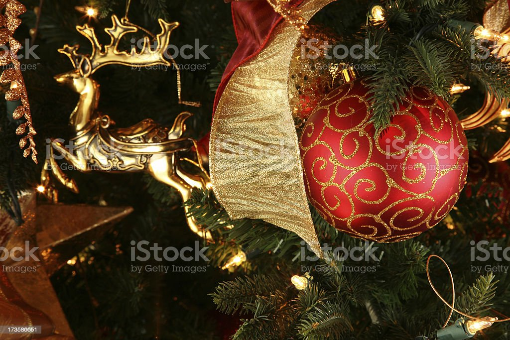 Happy Holidays Christmas Tree Decoration with Ornament royalty-free stock photo