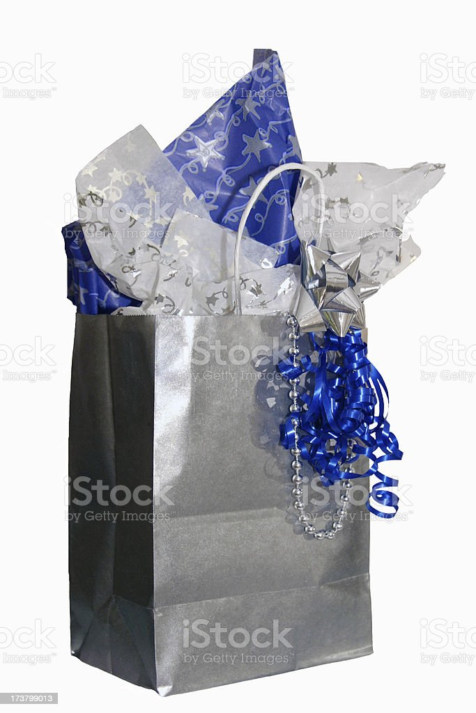 \'Blue and silver gift bag, ribbon, & tissue. Isolated on white.\'