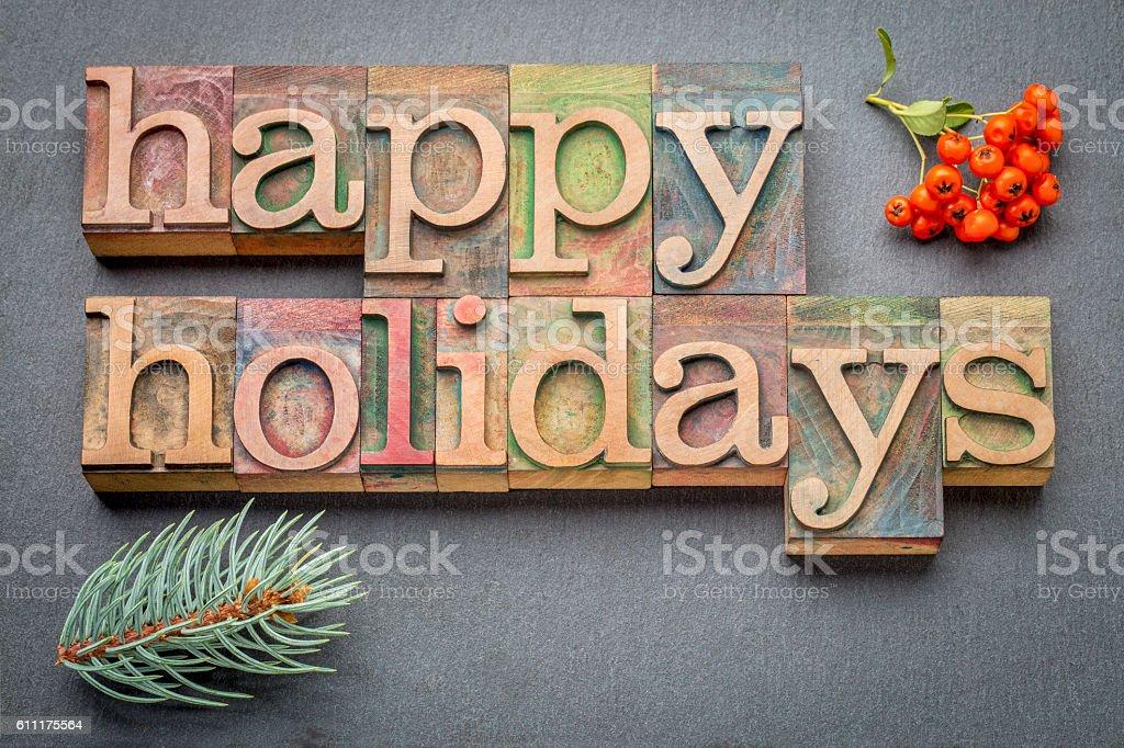 Feliz férias em madeira tipo - foto de acervo