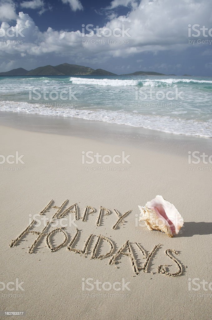 Happy Holidays Message w Conch Shell royalty-free stock photo