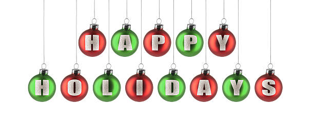 happy holidays ornaments - happy holidays stock pictures, royalty-free photos & images