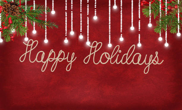 happy holidays rope design with lights - happy holidays stock pictures, royalty-free photos & images
