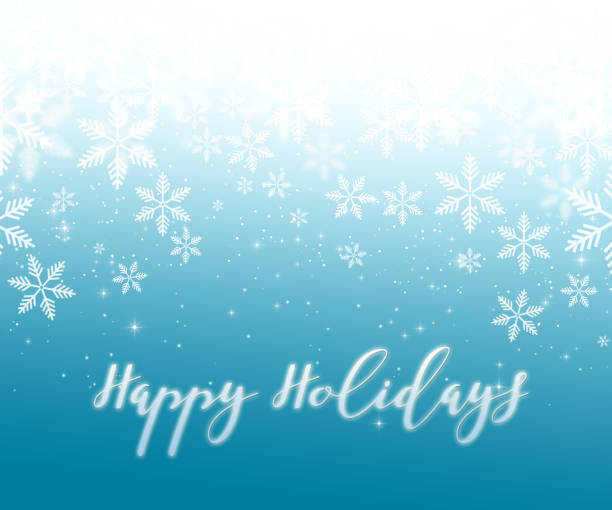 happy holidays with snowflakes on blue background - happy holidays stock pictures, royalty-free photos & images