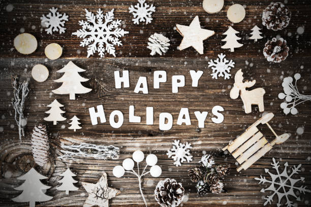 happy holidays, wooden christmas decoration, tree and snowflakes - happy holidays stock pictures, royalty-free photos & images