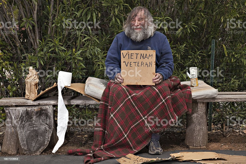 Happy Homeless Veteran royalty-free stock photo