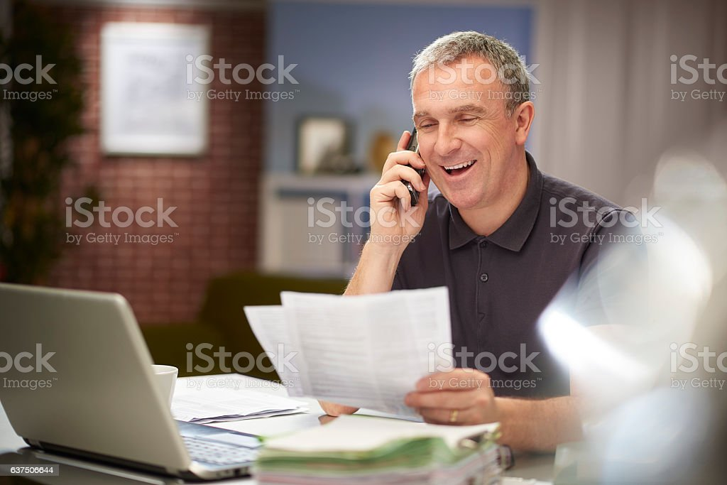 happy homeworker stock photo