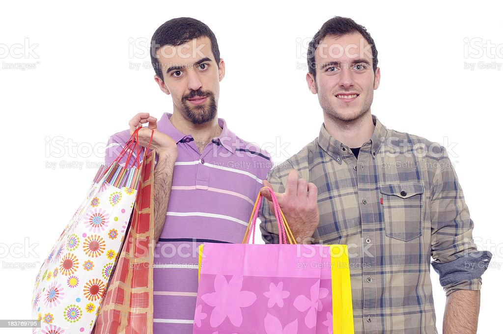 Happy Homosexual Couple with Shopping Bags,Isolated royalty-free stock photo
