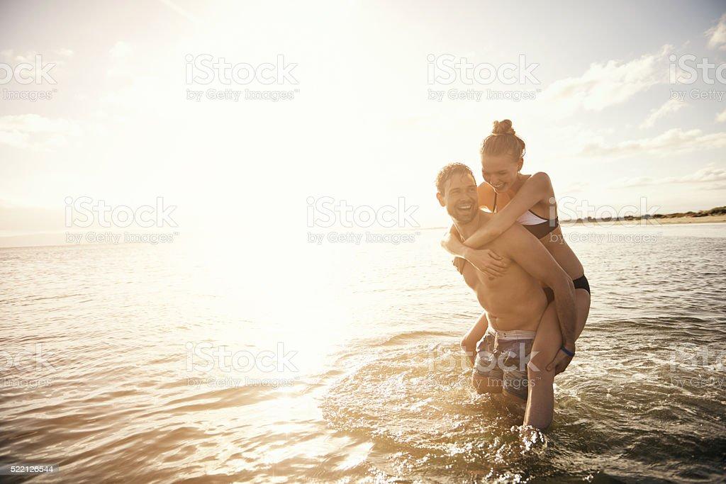 Happy honeymooners stock photo