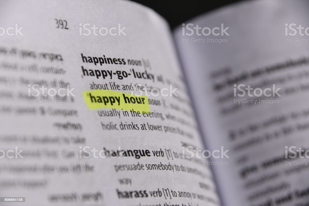 Happy Definition Of Happy At Dictionary Com >> Happy Hour Dictionary Definition Stock Photo Download