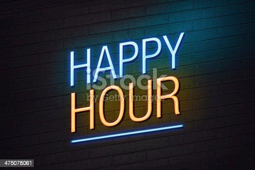 istock Happy hour neon sign 475078061