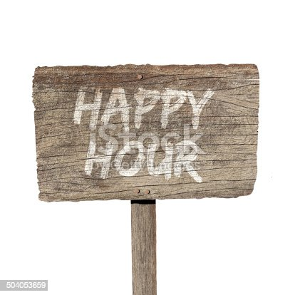 istock Happy hour sign 504053659