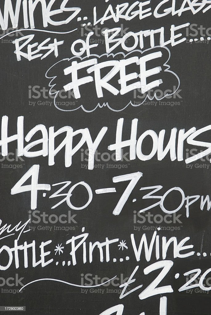 Happy Hours Chalkboard royalty-free stock photo