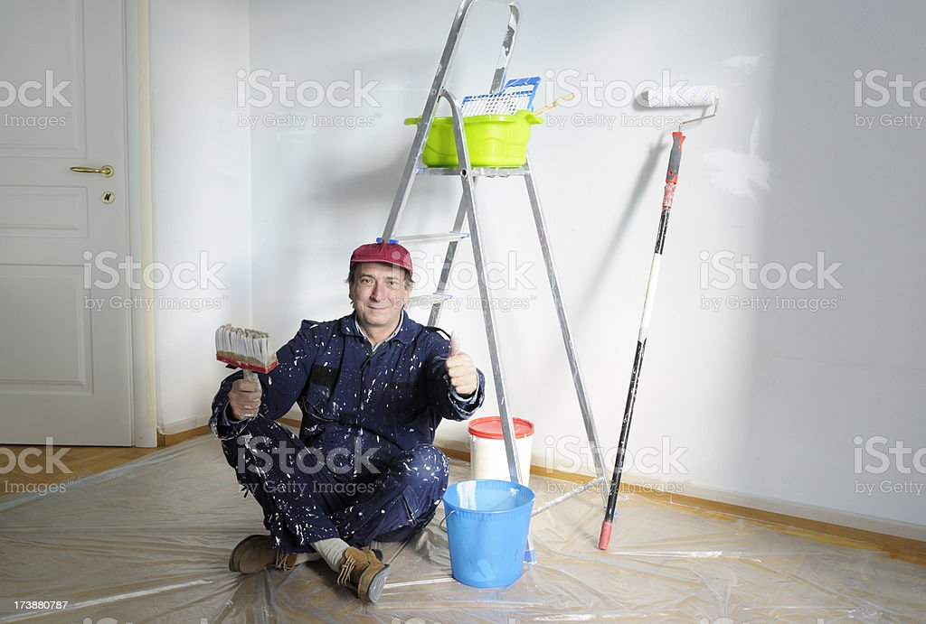 Happy House Painter royalty-free stock photo