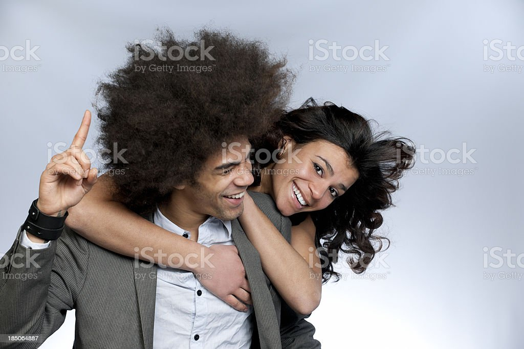 happy hugging young couple stock photo