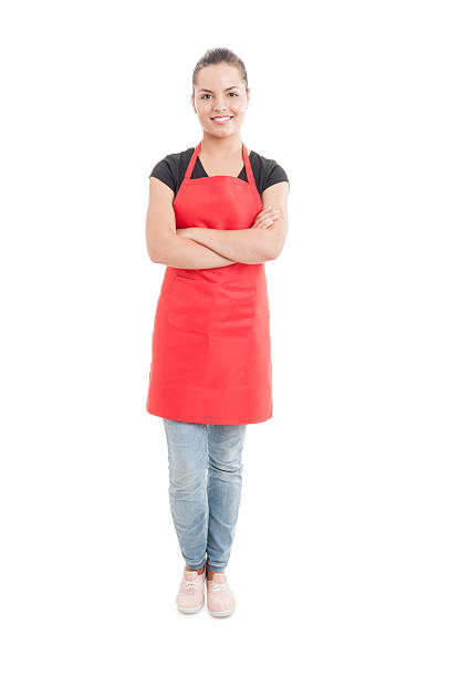 happy hypermarket seller with confident attitude - apron stock pictures, royalty-free photos & images