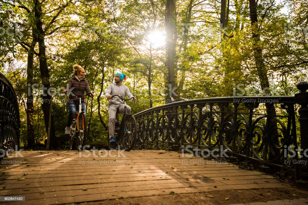 Happy In Love Couple Enjoying In Healthy Lifestyle At Autumn Day