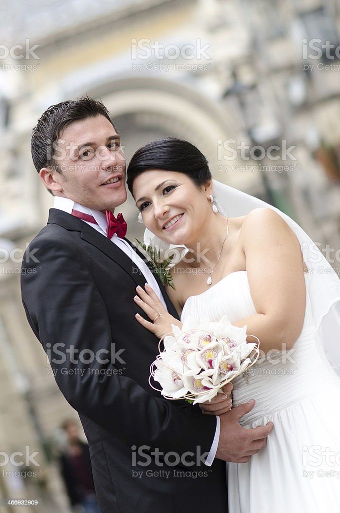 Happy in love newlyweds royalty-free stock photo