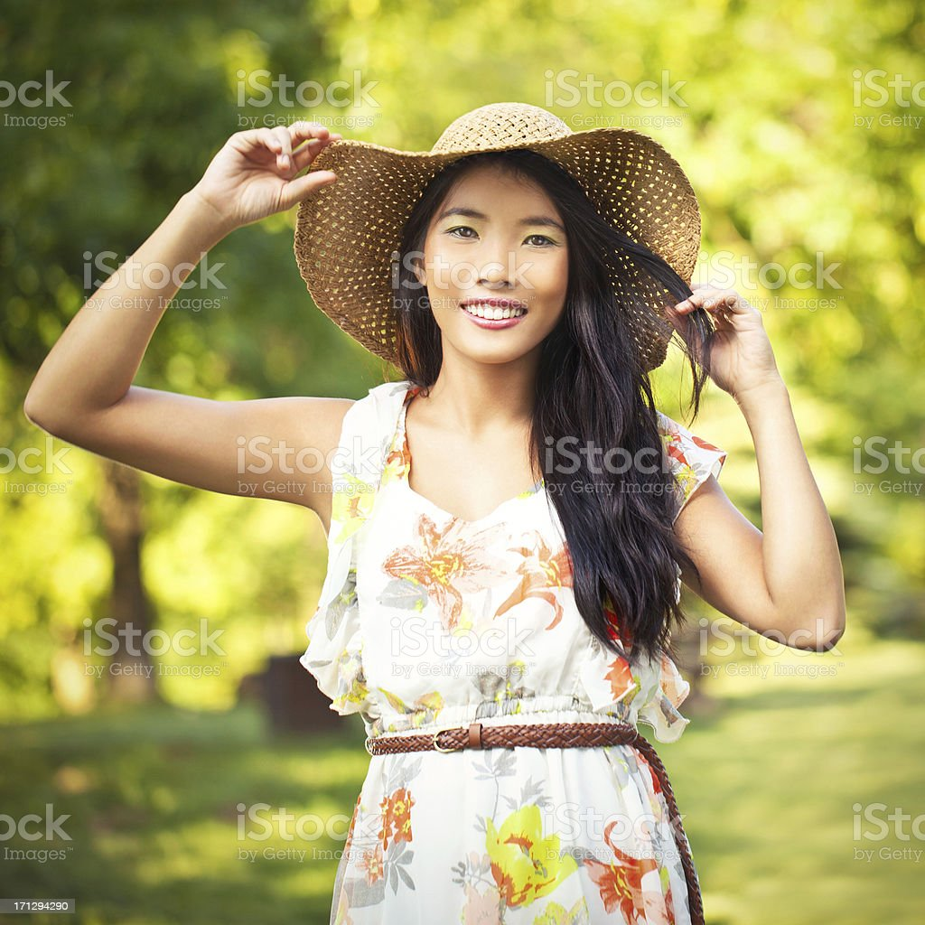 Happy in the Summer stock photo