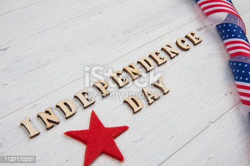 istock Happy Independence Day. Close-up text 1137110201