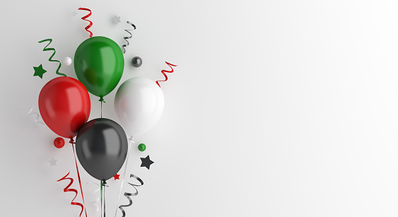 Happy Independence Day of United Arab Emirates UAE, Kuwait, Palestine, Jordan, Sudan.decoration background, banner, template, flyer, balloon, ribbon, confetti on white, copy space, 3D rendering.