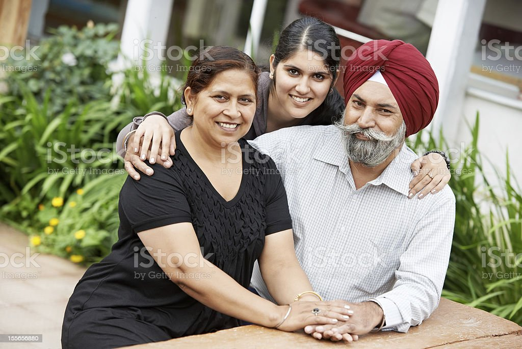 Happy indian adult people family stock photo