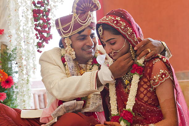 Happy Indian Couple At Their Wedding Stock Photo
