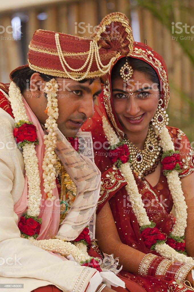 Happy Indian Couple At Their Wedding Royalty Free Stock Photo