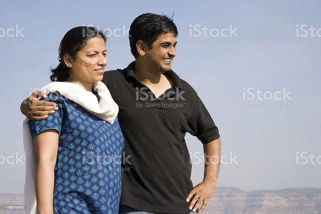 Happy Indian Couple Husband Wife Embrace Cheerful Lifestyle Horizontal royalty-free stock photo