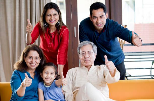 Happy Indian family stock photo