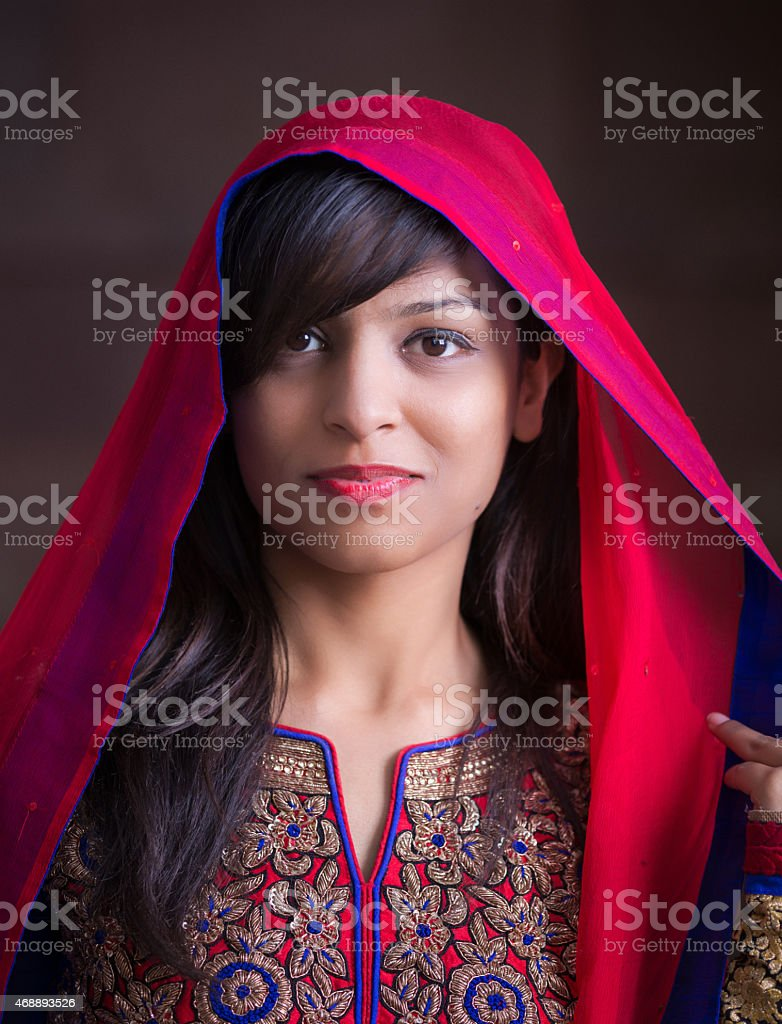 Happy indian young woman stock photo