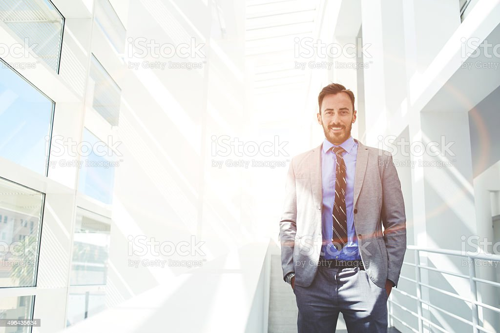 Happy intelligent lawyer posing with copy space area for text stock photo