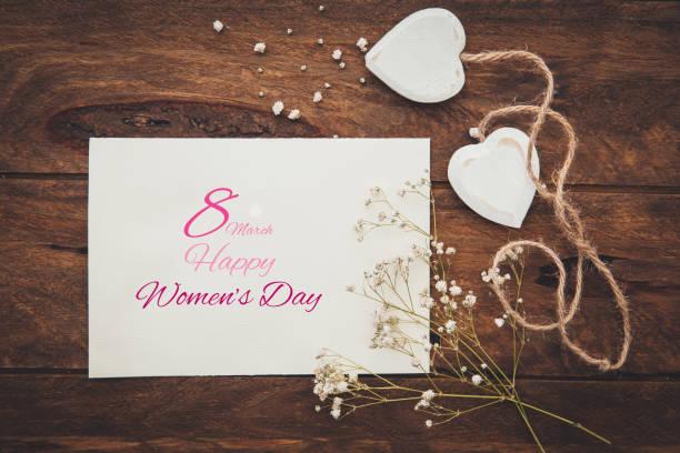 Happy International Women Day, March 8, celebration greeting message stock photo