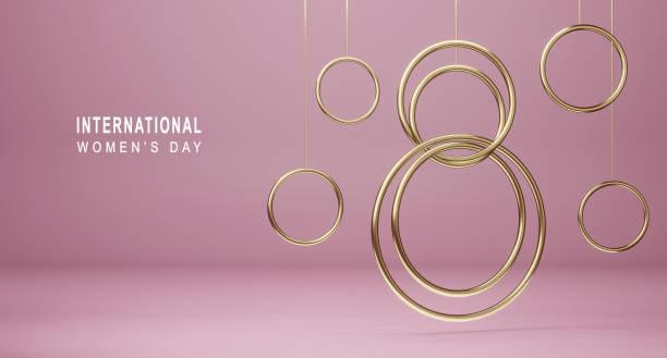 快樂國際婦女節背景。帶有金色裝飾元素的橫幅 8 數位 3d 渲染。象徵三月的春天,賀卡設計。 - womens day 個照片及圖片檔
