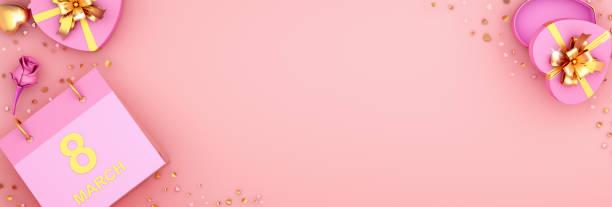 bonne journée internationale de la femme carte de vœux créative, mise en page, modèle, bannière, mars 8e calendrier avec boîte-cadeau en forme de cœur, fleur de rose et des paillettes de confettis sur le fond rose. illustration 3d. - calendrier digital journée photos et images de collection