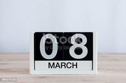 istock Happy International Women's Days. March 8th. Day 8 of month, everyday calendar on wooden table background. Empty space for text. 854079130