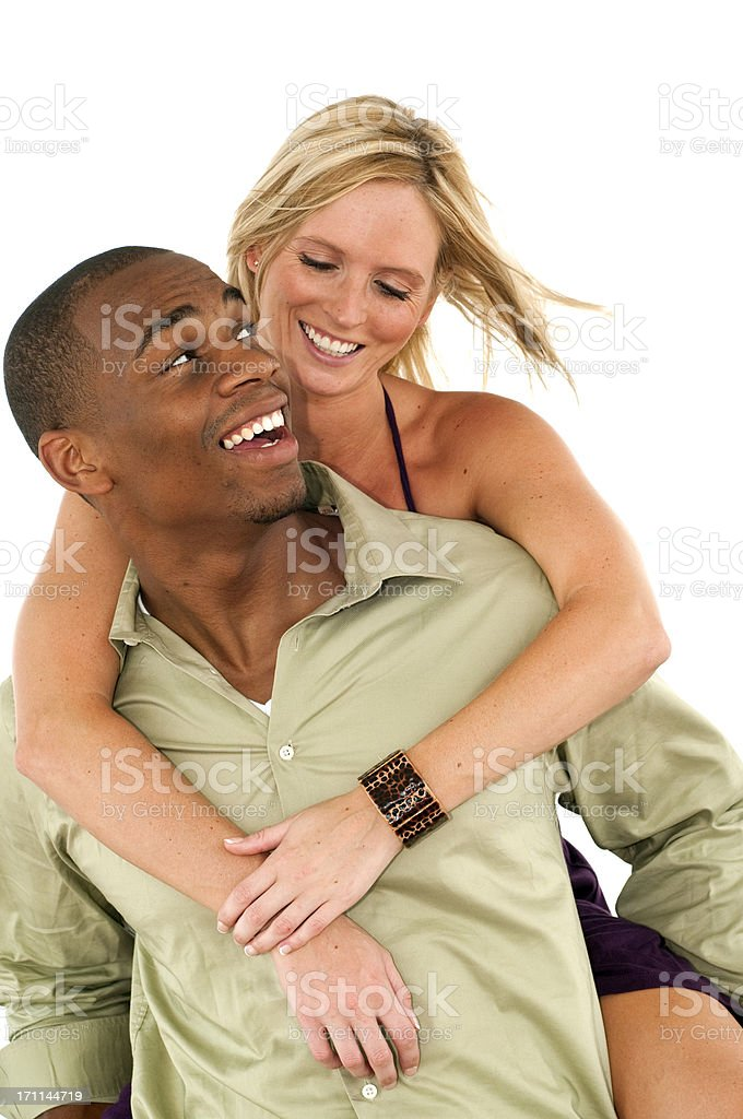 Happy Interracial Couple royalty-free stock photo
