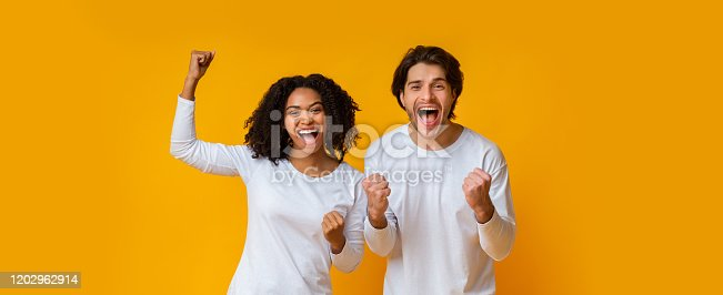 istock Happy interracial couple rejoicing success, celebrating victory with raised fists 1202962914