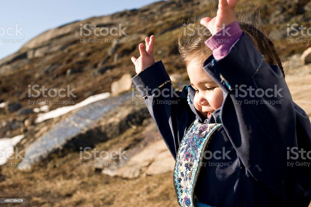Happy Inuit Child, Baffin Island, Nunavut, Canada. stock photo
