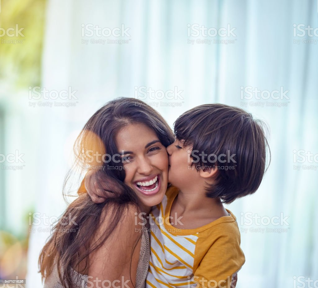 Happy is the child who's mother is happy stock photo